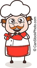 Cartoon Joyful Senior Chef Vector Expression