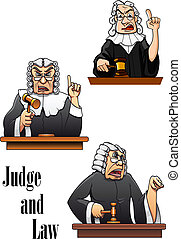 Cartoon judge characters with gavel hammer and wig. For law design