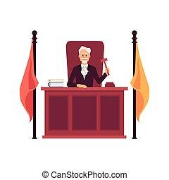 Cartoon judge man holding gavel sitting behind wooden bench ...