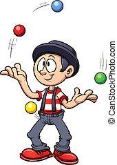 Cartoon juggler. Vector clip art illustration with simple...