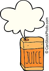 cartoon juice box and speech bubble - cartoon juice box with...