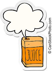 cartoon juice box and speech bubble sticker - cartoon juice ...