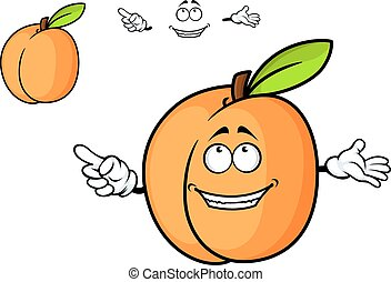 Cartoon juicy apricot fruit with smiling face and separate...