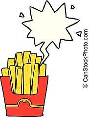 cartoon junk food fries and speech bubble - cartoon junk...
