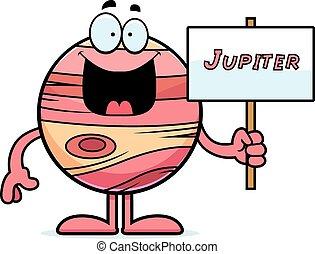 Cartoon Jupiter Sign - A cartoon illustration of the planet...