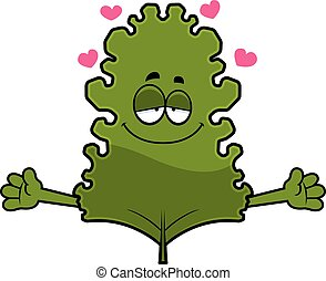 Cartoon Kale Leaf Hug - A cartoon illustration of a kale ...