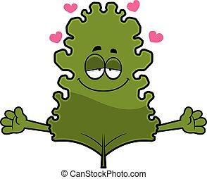 Cartoon Kale Leaf Hug - A cartoon illustration of a kale...