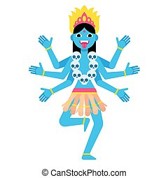 Cartoon Kali illustration - Hindu goddess Kali. Cartoon...