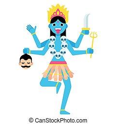 Cartoon Kali illustration - Hindu goddess Kali with...