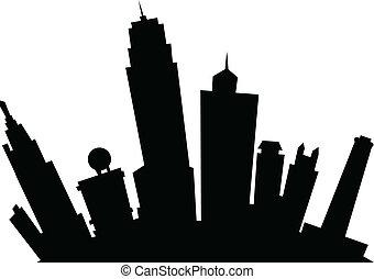 Cartoon skyline silhouette of the city of Kansas City, Kansas, USA.