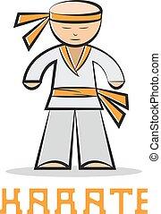 cartoon karate young man vector design illustration