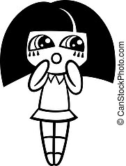cartoon kawaii girl coloring page