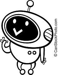 cartoon kawaii robot coloring page - Black and White Cartoon...