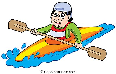 Cartoon kayaker on white background - isolated illustration.