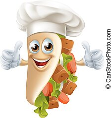 Cartoon Kebab Character - An illustration of a healthy...
