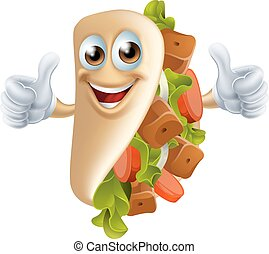 Cartoon Kebab Man - An illustration of a healthy looking...