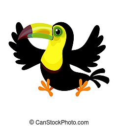 Cartoon keel-billed toucan(Ramphastos sulfuratus) isolated on white background