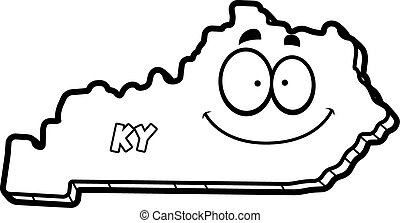 A cartoon illustration of the state of Kentucky smiling.