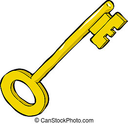 Cartoon key - Key on a white background vector illustration