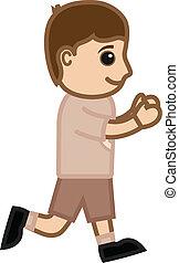 Cartoon Kid Boy Running Vector