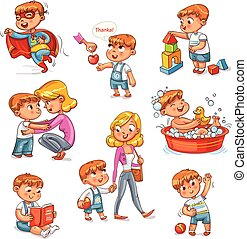 Cartoon kid daily routine activities set. Boy goes for a walk with mom. Kid with Speech say thank you. Child takes a bath. Reading a book. Boy doing exercises. Child playing with block toys. Isolated
