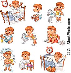 Cartoon kid daily routine activities set - Daily routine...