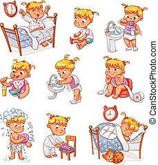 Daily routine activities. Baby sitting children's pot. Girl brushing her teeth. Kid neatly folds his clothes. Girl washes her hands. Child taking shower. Wake up in morning. Eating breakfast. Funny cartoon character