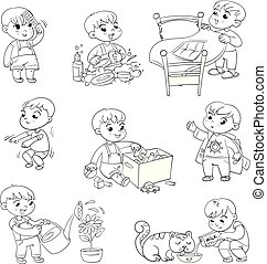 Cartoon kid daily routine activities set