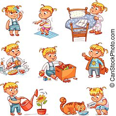 Cartoon kid daily routine activities set - Daily routine....