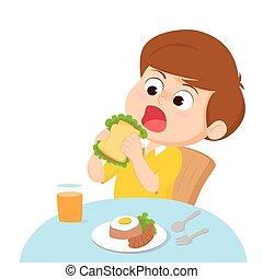 Cartoon Kid eating