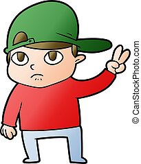 cartoon kid giving peace sign