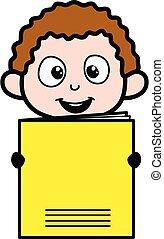 Cartoon Kid holding a paper banner