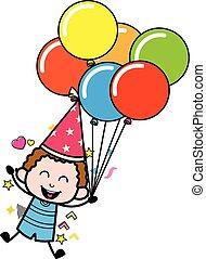 Cartoon Kid holding Balloons