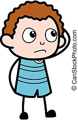 Cartoon Kid thinking in Confusion