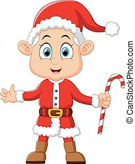 cartoon kid wearing santa costum