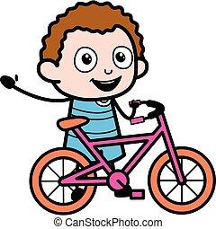 Cartoon Kid with Bicycle