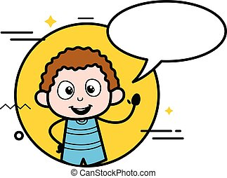 Cartoon Kid with Chat Bubble