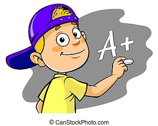 Cartoon kid writing A grade