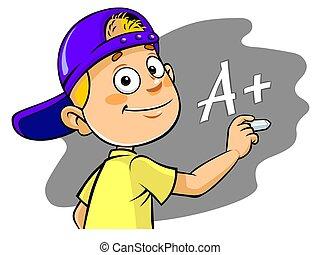 Cartoon kid writing A  grade