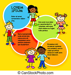 Cartoon kids and color circles-2