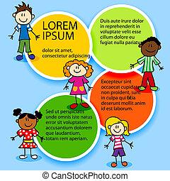 Cartoon kids and color circles