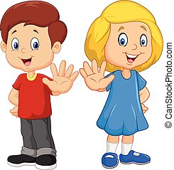 Cartoon kids are showing a stop