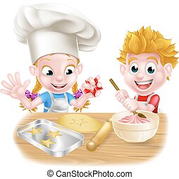 Cartoon Kids Baking
