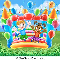 Cartoon Kids Bouncy Castle - Two children, a boy and girl,...