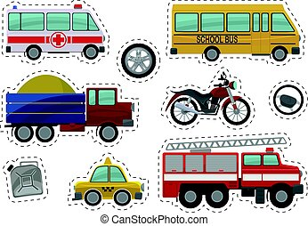 Cartoon kids car toys illustration. Vector icons
