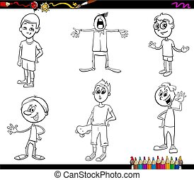 cartoon kids characters coloring book - Black and White...