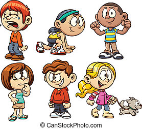Cute cartoon kids. Vector clip art illustration with simple gradients. Each on a separate layer.