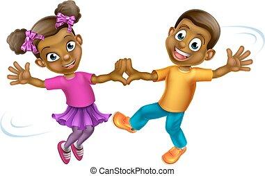 Two young cartoon children dancing