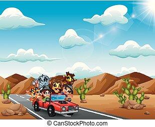 Cartoon kids driving a red car with wild animals through the desert