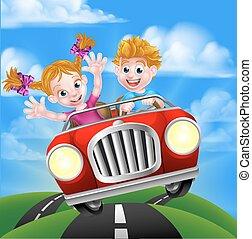A cartoon man and woman having fun driving in a car on a road trip